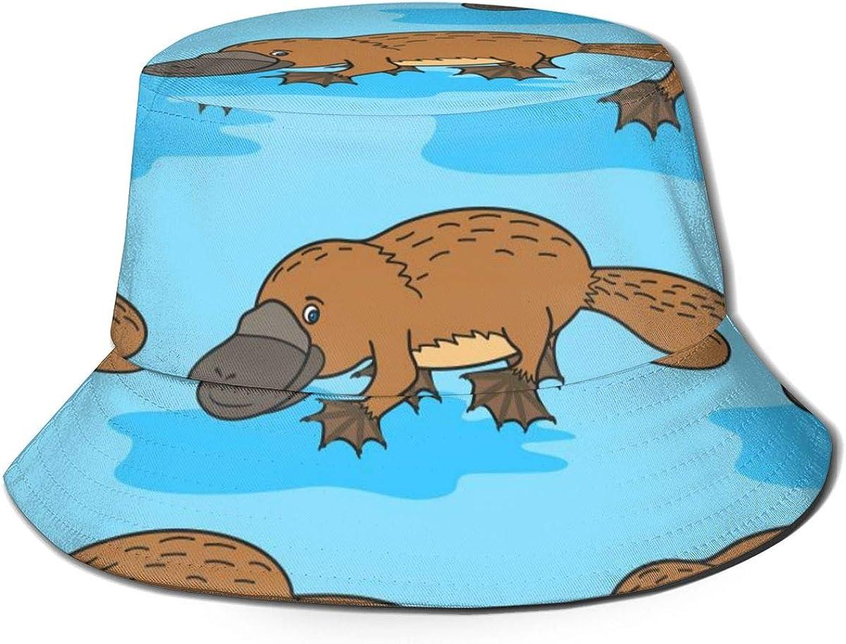 Unisex Bucket Hat Funny Platypus/Finding Blue Dory Fish Travel UV Sun Fisherman Cap