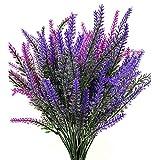 SUNFUA 6 Pcs Flores Artificiales de Lavanda Artificial Lavanda Bouquet para Hogar y Decoración de Boda (Púrpura, Rosa Roja)