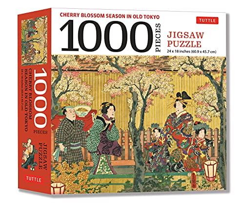 Cherry Blossom Season in Old Tokyo- 1000 Piece Jigsaw Puzzle: Woodblock Print by Utagawa Kunisada (Finished Size 24 in X 18 in)