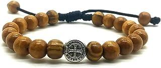 MedjugorjeStoneGifts Wooden Bead Beaded St Benedict Bracelet for Men Women On Adjustable Cord