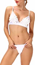 Hioffer Women Bikini Set White Flower Applique Mesh Hollow Thong Swimwear Bathing Swimsuit Brazilian Bikini