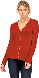 NANAVA Women's Basic Snap Button Ribbed Detail Long Sleeve Sweater Cardigan S - 3XL
