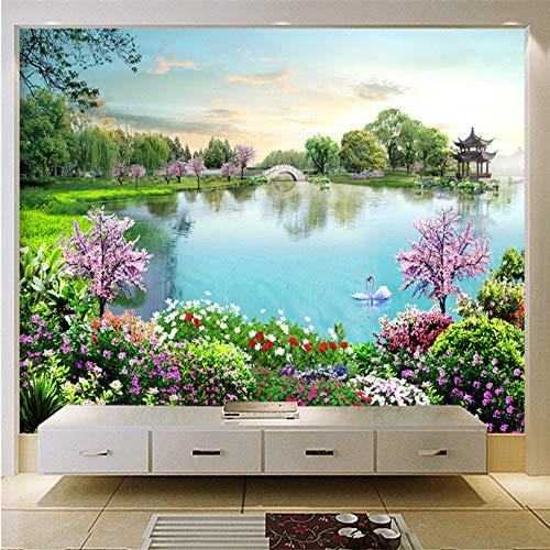Meaosy Natuur Landschap Muurschilderingen 3D Aangepaste foto Wallpapers Lake Bloemen Bos Muur Papieren voor Woonkamer Tv Achtergrond Home Decor 150x120cm