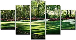 Chicicio Augusta National Golf Club, Green Golf Course Wall Decor Pictures 5 Piece Canvas Art Frame Artwork Poster Painting Ready to Hang(60''Wx32''H)
