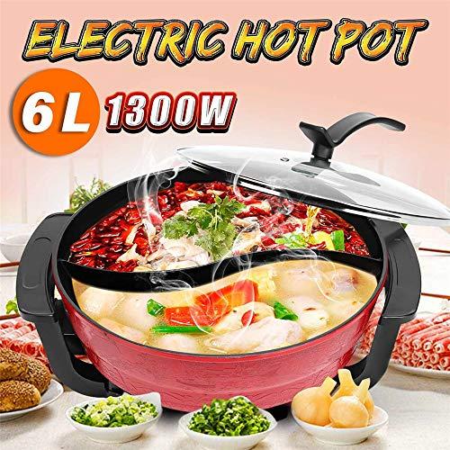 WEILY 1300W 220V 6L Elektro-Shabu Shabu Hot Pot mit Divider für 2 Geschmack, Non Stick Oberfläche mit 5 Temperatursteuerungseinstellungen, Geeignet für 4 bis 6 Personen