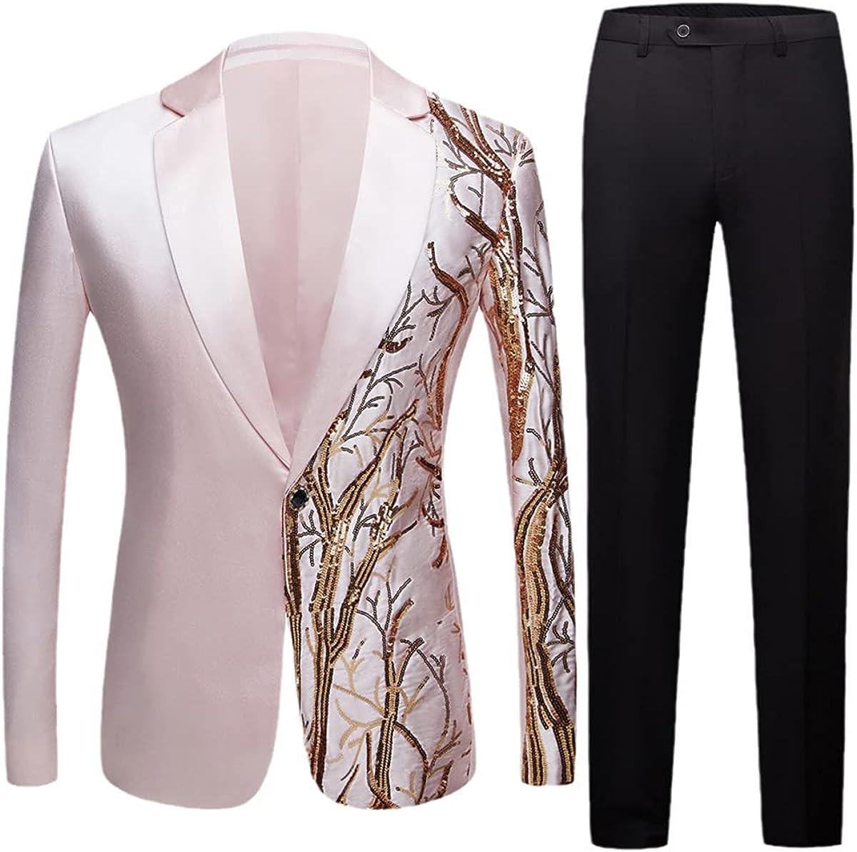Men's Black Sequined Party Blazer Slim fit Wedding Party Blazer Singer high-Density Sequined Blazer Suit