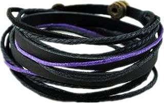 Black Leather Wristband Cuff Bracelet, Friendship Gift, Black Ropes Bracelet, Women wrap Bracelet, Men wrap Bracelet SL2339