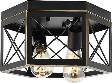 HMVPL Farmhouse Flush Mount Ceiling Lights Fixtures, Kitchen Close to Ceiling Lamp Industrial Edison Metal Pendant Lighting f
