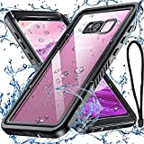 Anqrp Galaxy S8 Waterproof Case with High Touch Response & Original Sound Quality, IP68 Shockproof Dustproof Anti-Scratch Slim Galaxy S8 Cover (5.8 inch), (Black/Clear)