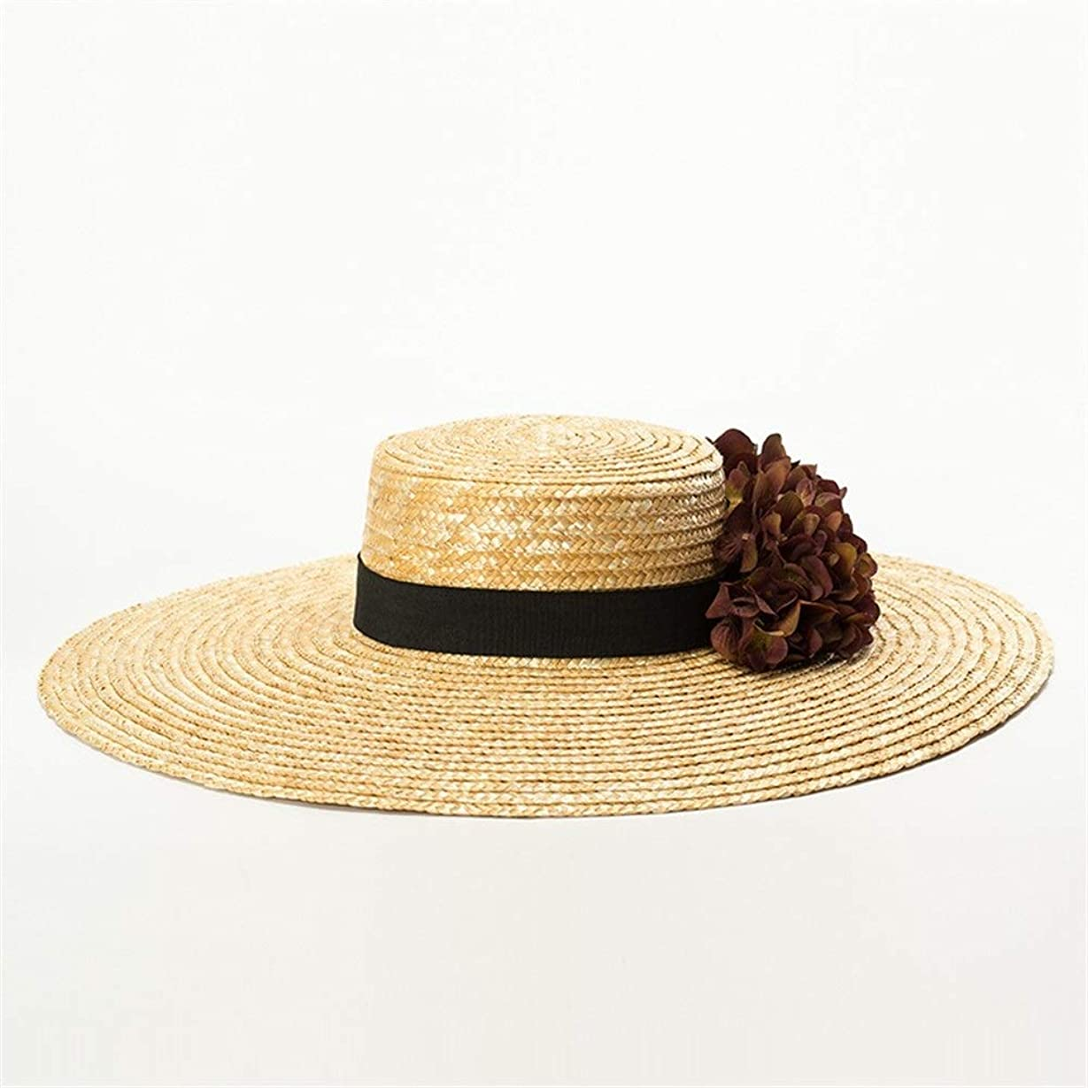 芝生ボルト優遇大きい花の装飾天然麦わら草フラットシルクハット春と夏の日焼け止めサンシェードビーチフラット麦わら帽子