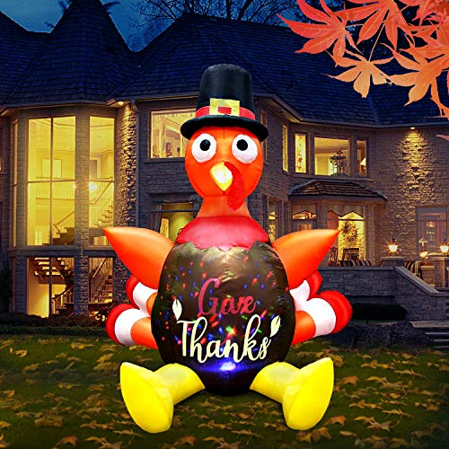 GEJRIO 5FT Thanksgiving Inflatable Turkey with Pilgrim Hat, Built-in Rotating LED Colorful Lights Thanksgiving Autumn Decor, Blow up Lighted Outdoor Indoor Holiday Yard Lawn Decoration