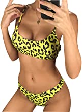 DLTEREN Women Yellow Sexy LeopardBikini Set Print Push up Swimwear Female Bikini Set Bathing Suit Brazilia Swimsuit