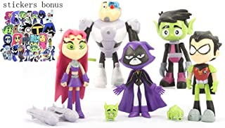 "7 Pack 5"" Teen Titans Go Figures Set Cake Toppers Toys Playset + Paper Stickers"