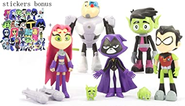 """7 Pack 5"""" Teen Titans Go Figures Set Cake Toppers Toys Playset + Paper Stickers"""