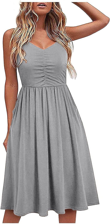 Eduavar Summer Dresses for Women, Womens Casual Floral Print Hollow Sleeveless Beach Mini Dress A-Line Flowy Sundresses