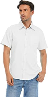 S7 Men's Short Sleeve Solid Dress Shirts Casual Button Down Regular-Fit Business Shirt with Pocket…