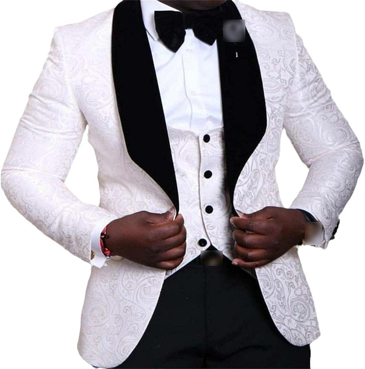 Best Man Shawl Lapel Groom Tuxedo Men's Suit Wedding Best Man Blazer Jacket + Pants + tie + Vest
