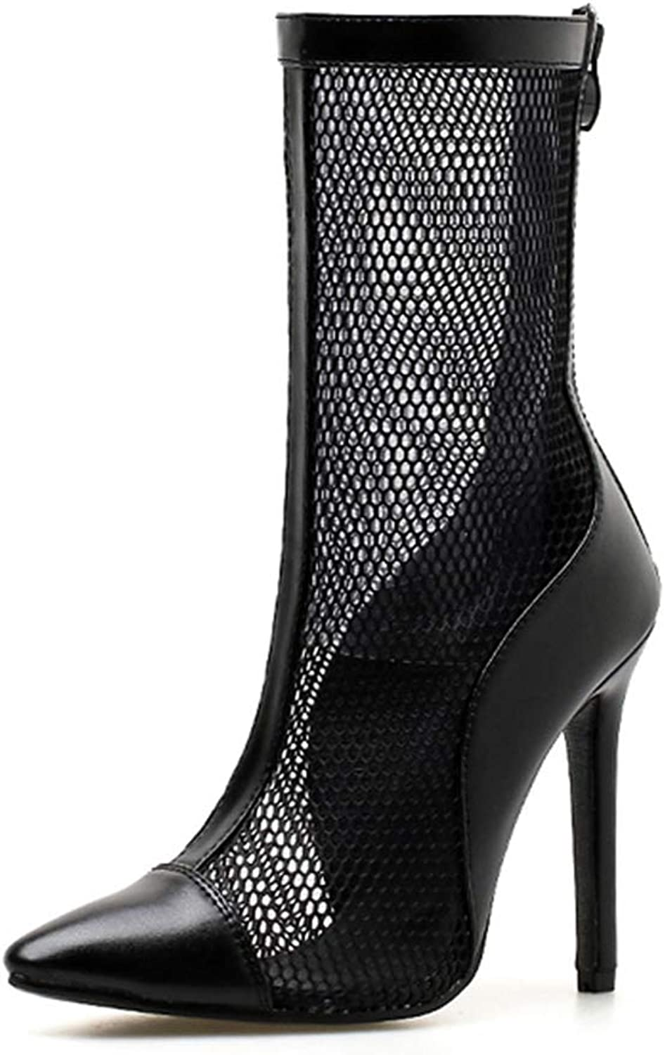 AVENBER Women Mid Calf Boots High Heels Sexy Stiletto Breathable Mesh Ladies Cool Riding Combat Round Toe shoes