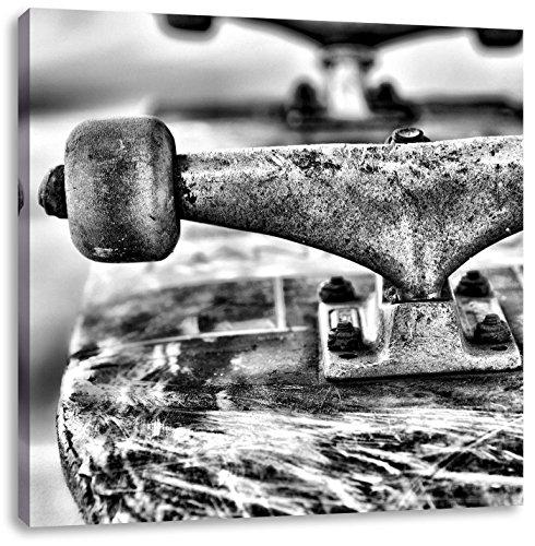 skateboard zwartCanvas Foto Plein | Maat: 40x40 cm | Wanddecoraties | Kunstdruk | Volledig gemonteerd