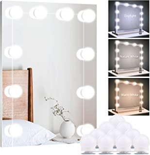 Upgraded Hollywood Style Vanity Mirror Lights Kit, 10 Dimmable LED Bulbs with 3 Color Modes, Best for Makeup Dressing Table Bathroom Dressing Room, Power Supply Plug in Lightings (Mirror Not Include)