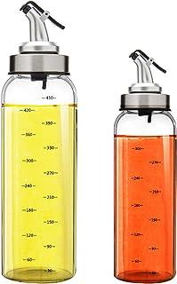 Marbrasse 2 Pack Olive Oil Dispenser Bottle - Oil and Vinegar Dispenser 17 Oz & 10 Oz Salad Dressing Cruet Glass Bottle wi...