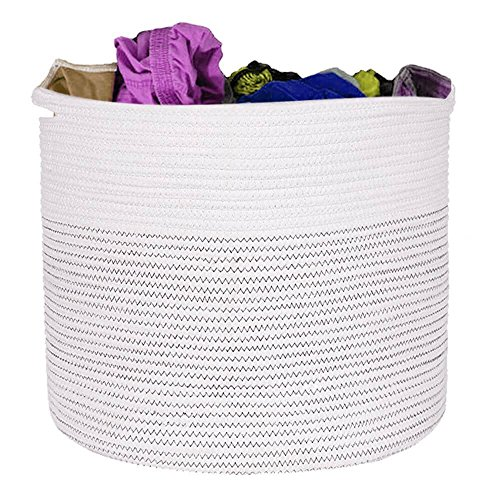 Large Woven Cotton Rope Laundry Storage Basket - 100% Soft Cotton, Large 15x15x13 inches with Handles | Storage Baskets for Kids Room, Nursery, Toys, Towels and Blankets