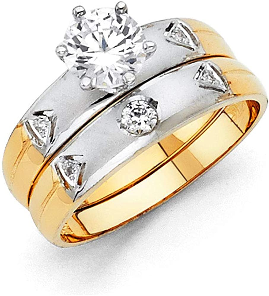 Wellingsale Ladies High quality new Solid 14k Two 2 Special price Tone Yellow Gold Po and White