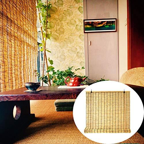 Jalousie Bambusrollo Sonnenschutz Reed Vorhang Rollos - 110 x 160 cm (Breite x Höhe) – Farbe: Naturfarbe