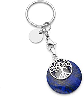 CrystalTears Tree of Life Silver Charms Keychain Lapis Lazuli Healing Crystal Chakra Pendant for Womens Mens