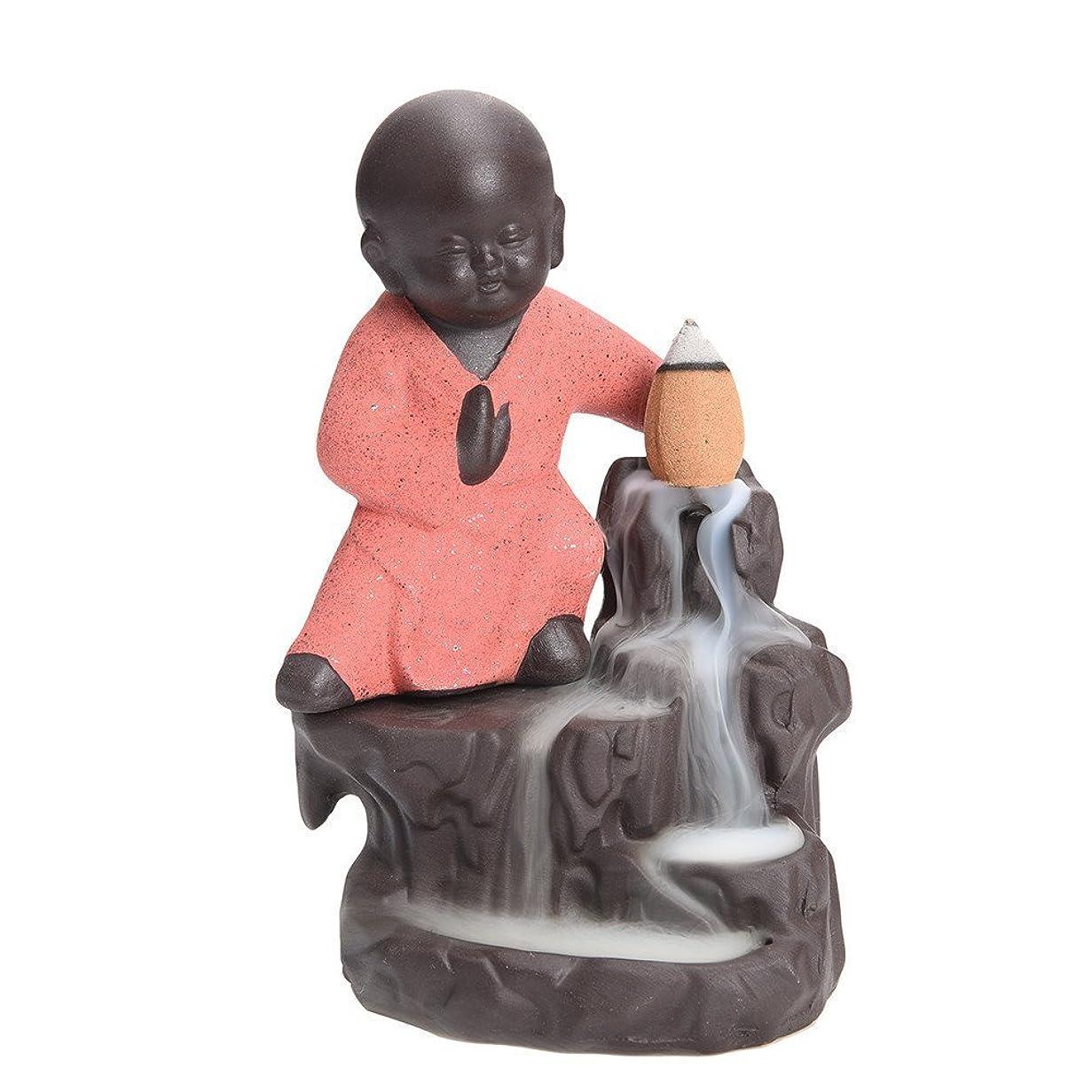 歩く傾いた高尚な逆流香炉タワーCones Sticks Little Monkホルダーセラミック磁器Buddha Monk AshキャッチャーbySimon & # xff08?;ピンク& # xff09?;