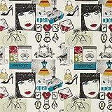 Fabulous Fabrics Tela Decorativa Tapiz Collage Vintage – Blanco — Mercancia al Metro a Partir de 0,5m — Oeko-Tex Standard 100 Clase del Producto I — para Coser de Bolsos, Mantas y Asiento