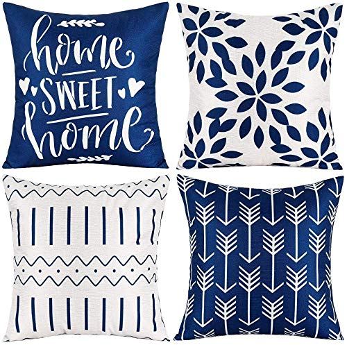 Pack of 4 Home Decorative Throw Pillow Covers Modern Cotton Linen Throw Pillow Covers Cushion Case for Couch Sofa Living Room Home Décor-Dark Blue_16x16'
