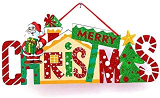 EBTOYS Merry Christmas Wood Door Sign Door Wall Window Sign Hanging Decoration for Xmas Home Restaurant Cafe Shop Bar
