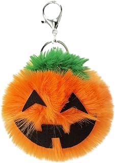 LUOEM Halloween Pumpkin Key Chain Plush Key Ring Pendant Souvenir Jack O Lantern Pumpkin Halloween Party Favor for Car Hanging Decoration