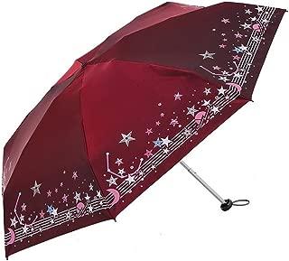 SHANGRUIYUAN-Umberllas Folding Umbrella Ladies Umbrella Glitter Star Sheet Music Starry Sky Super Light Weight 7 Bones UV Cut Umbrella (Color : Red, Size : Free)