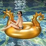 Piscina Inflable Colchones hinchables Caballito de mar Dorado Fila Flotante Juguetes inflables Cama Flotante para Adultos Juguetes flotantes de Agua Juguete para Piscina 275 * 140 * 120 cm Fila f