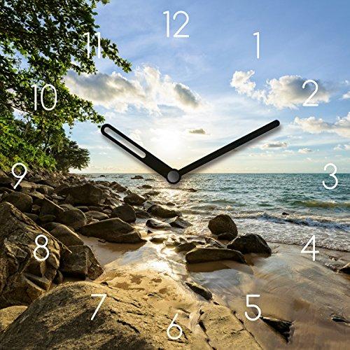 Wanduhr aus Glas mit Tischaufsteller, Sunset in Thailand, Strand mit Felsen, 20x20 cm von Eurographics