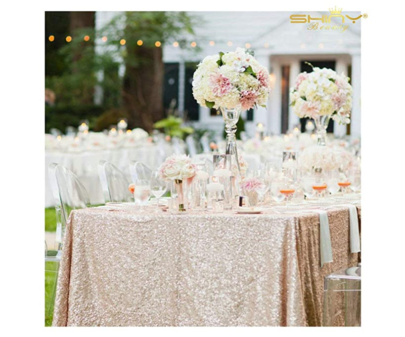 ShinyBeauty 60inx102in Sequin Tablecloth for Wedding/Party-Champagne Blush