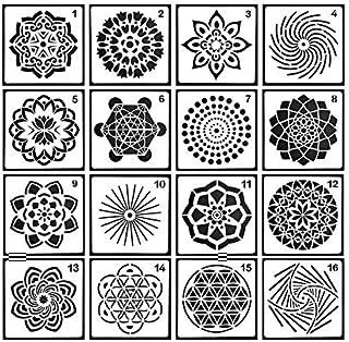 Pawaca Plantillas diseño de Mandala, 16 Piezas, Diferentes Patrones, Plantillas de Pintura de