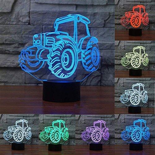 NIUBB 3D camión tractor coche luz de noche lámpara de 7 colores cambian de luz LED táctil USB mesa regalo niños juguetes decoración Navidad San Valentín regalo cumpleaños