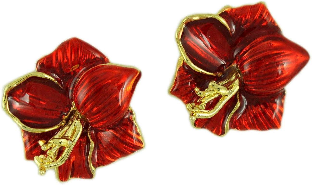 Red High order Purchase Enamel Christmas Amaryllis Clip Flower Earring