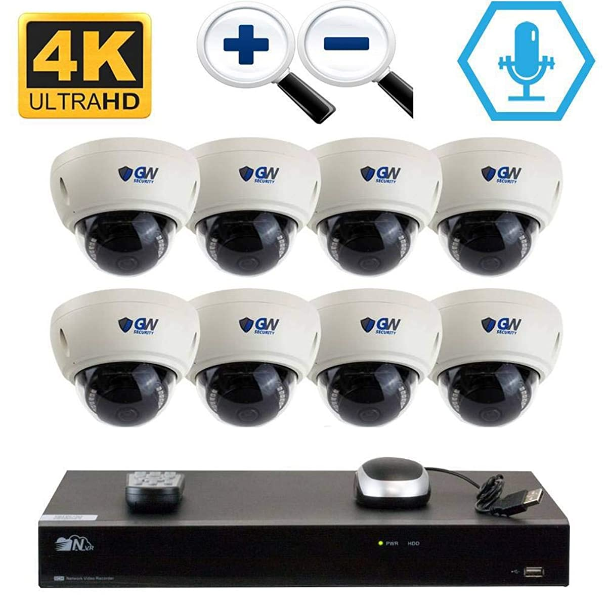 GW 8CH H.265 PoE NVR Ultra-HD 4K (3840x2160) Video & Audio Security Camera System with 8 x 4K (8MP) Microphone 3X Motorized Zoom IP Dome Camera, 100ft Night Vision, 4TB HDD