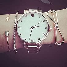 Vintage Alloy Arrow Heart Stackable Bangle Bowknot Bracelet Set Women Ladies Girls Jewelry Gift,Golden Bowknot
