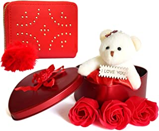 Saugat Traders Exclusive Birthday Gift for Girlfriend, Friend- Heart Gift Box & Mini Wallet