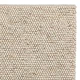 """URBANARA Teppich """"Ravi"""" - Schurwolle/Viskose/Baumwolle, Wohnzimmer-Teppich in Naturweiß - 140cm x 200cm, handgewebter Wollteppich mit Mellierung und moderner, grober Struktur"""