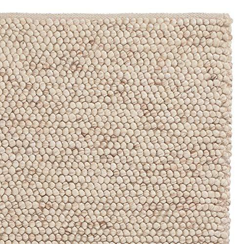 URBANARA Teppich Ravi - Naturweiß 250 x 350 cm 60% Schurwolle 20% Viskose 20% Baumwolle Wohnzimmer Teppich Handgewebter Wollteppich Mit Mellierung Und Moderner Grober Struktur