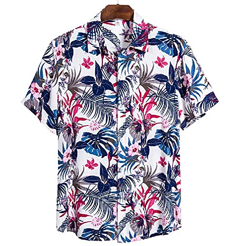 Shirt Ocio Hombre Estampado Personalidad Transpirable Verano Hombre T-Shirt Tapeta con Botones Manga Corta Hombre Shirt Tendencia Clásica Vacaciones En Hawaii Hombre Shirt Playa CS137 3XL