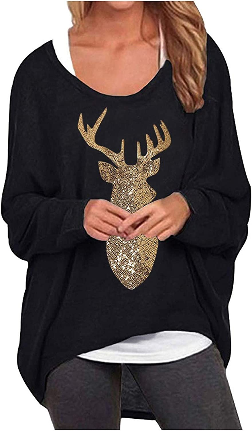 Womens Tops, Ladies Oversized Baggy Off Shoulder Sweatshirts Long Sleeve Tunics Tops Blouses Loose Casual Fall Pullover