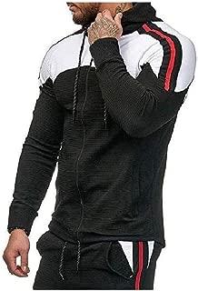 Mogogo Mens Athletic Stripes Plus Size Hit Color Hooded Sweatshirt