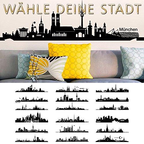 Grandora Wandtattoo Skyline Hannover I (BxH) 100 x 26 cm schwarz I Wohnzimmer Städte der Welt Aufkleber selbstklebend Wandaufkleber Wandsticker Sticker W5156